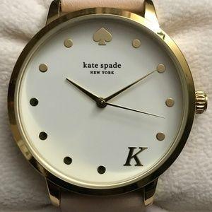 "kate spade 34mm Metro ""K"" Leather Strap Watch"